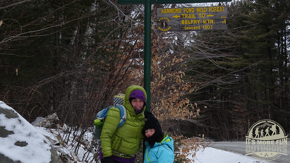 The trail head sign. 2/15/2016: Belfry Mountain Winter Fire Tower Challenge Hike!