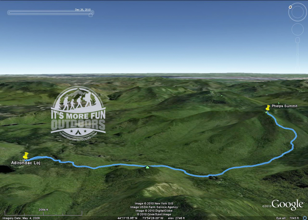 Our GPS track overlaid on Google Earth. 12/26/10: winter climb of Phelps Mountain!