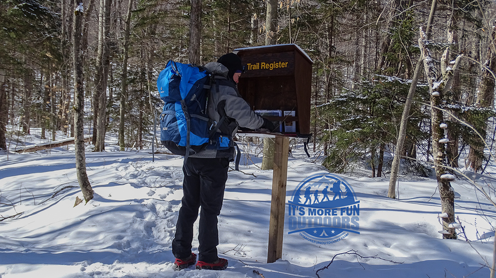 The trail register is just a short distance from parking. Stillwater Mountain Winter Fire Tower Challenge Hike! 3/5/17