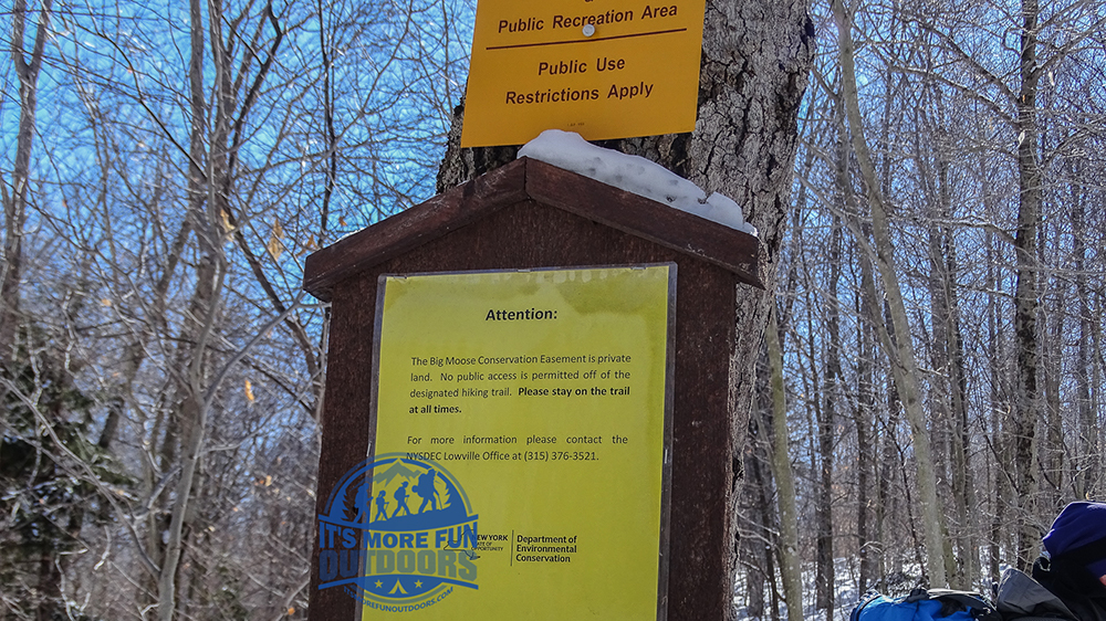 The NY State Wild Forest Boundary, clearly indicated as you cross onto private property. There are many posted signs along the trail, as well, to keep hikers from inadvertently trespassing. Stillwater Mountain Winter Fire Tower Challenge Hike! 3/5/17