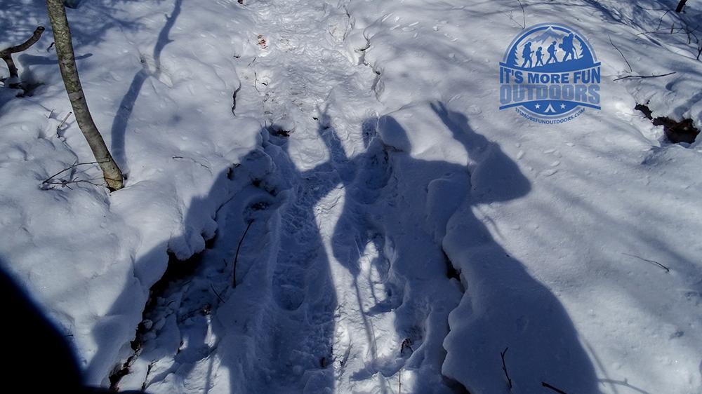 Haahahaa we love shadow selfies! Stillwater Mountain Winter Fire Tower Challenge Hike! 3/5/17