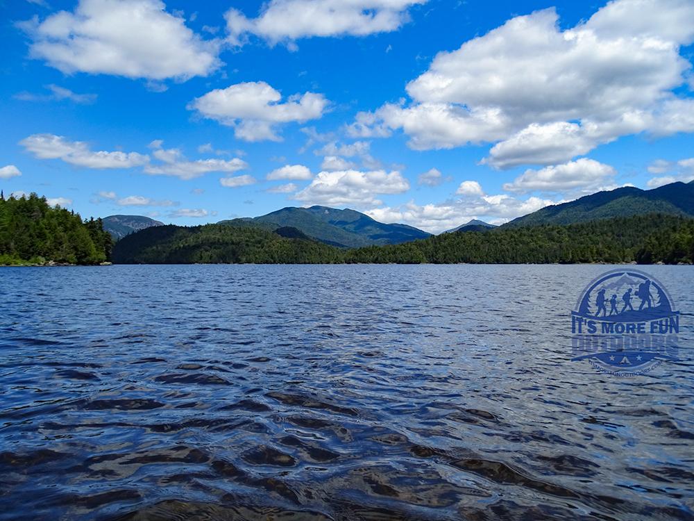 Wallface Mountain and the McIntyre range coming into view. Henderson Lake Kayak Camping, Tahawus Hike!