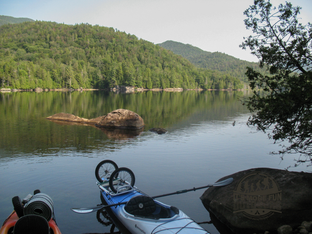 Beautiful little cove at the second camp. Henderson Lake Kayak Camping, Tahawus Hike!