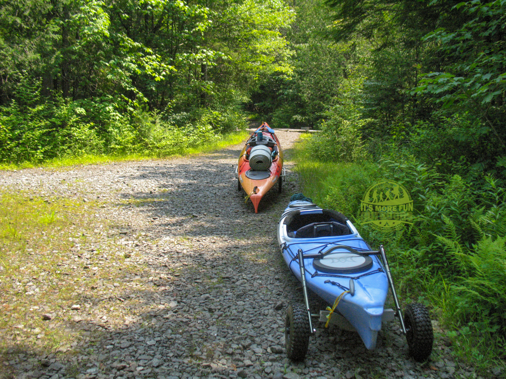 The carry, or portage, trail is very easy if you have wheels! Henderson Lake Kayak Camping, Tahawus Hike!