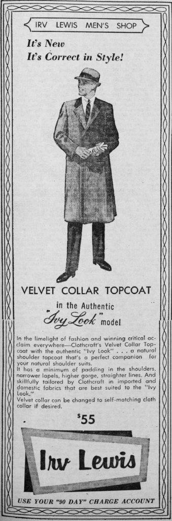 Cornell Daily Sun 4 Nov 1955 Irv Lewis ad