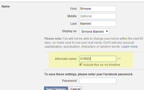 My QRZ on Facebook as Alternate Name