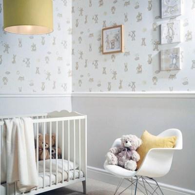 Arthouse Bear Hugs Teddy Bear Pattern Stars Moon Nursery Childrens Wallpaper 667400 - Mint | I ...