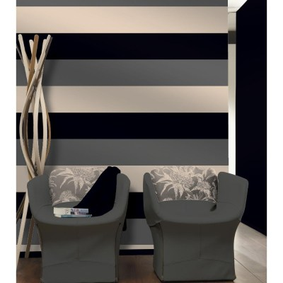 Direct Stripe 3 Colour Striped Motif Textured Designer Vinyl Wallpaper E40909 - Black Silver ...