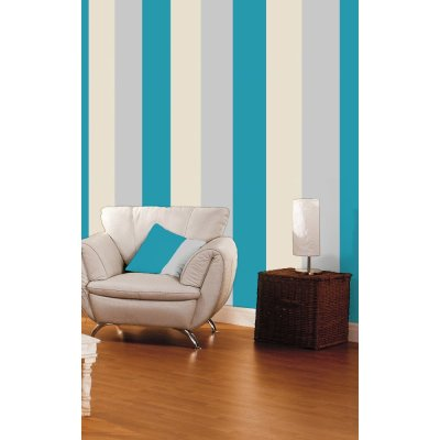 Direct Stripe 3 Colour Motif Textured Designer Vinyl Wallpaper E40931