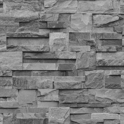 Muriva Bluff Slate Stone Brick Effect Wallpaper J27409 - Grey | I Want Wallpaper