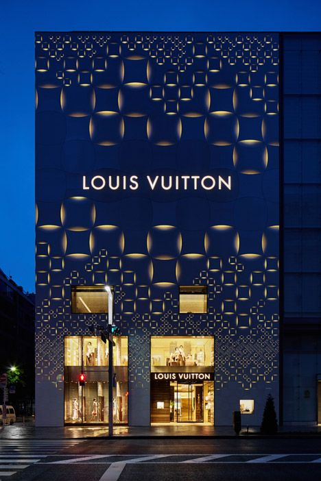 Louis Vuitton Tokyo facade by architect Aoki Jun - The building was fitted with a perforated aluminum shell giving it a quilted appearance