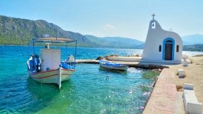 Church and boats by Iraeon Lagoon | Η Εκκλησία και Βάρκες στη Λιμνοθάλασσα Ηραίου