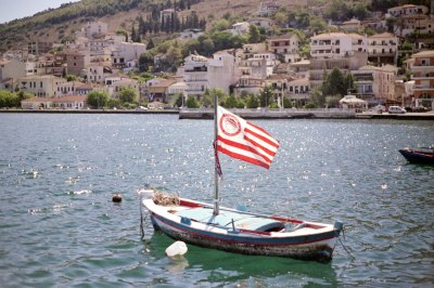 Boat with Olympiacos Flag