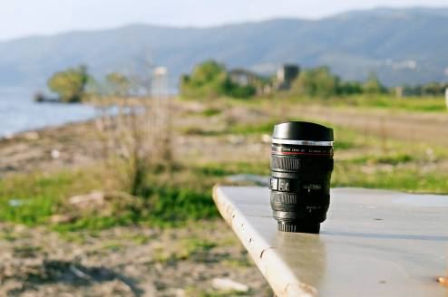 Lens Mug at the Beach