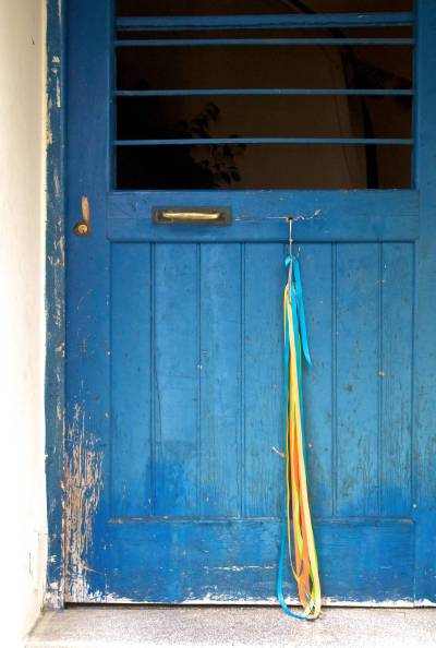 Ribbons on a Blue Door (1)