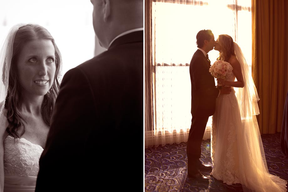bride and groom by window light