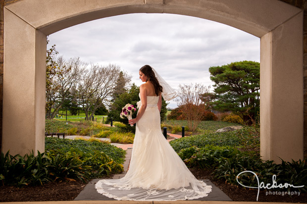 bride in front of hillendale country club garden