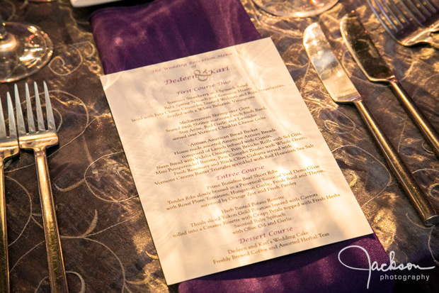 wedding menu purple and silver
