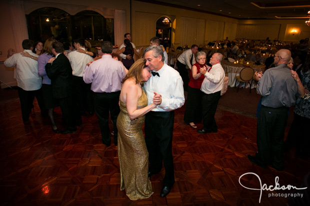father and wife dancing at ceremony