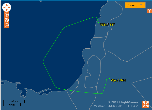 RJ New Flight to Beirut Over Israel, Gaza and Egypt