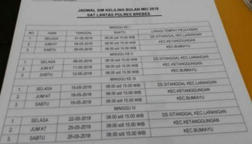Jadwal SIM Keliling Brebes 2018