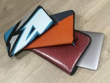 Housse d'ordinateur macbook 13 pouces voile aile recyclée recyclage voilerie brest