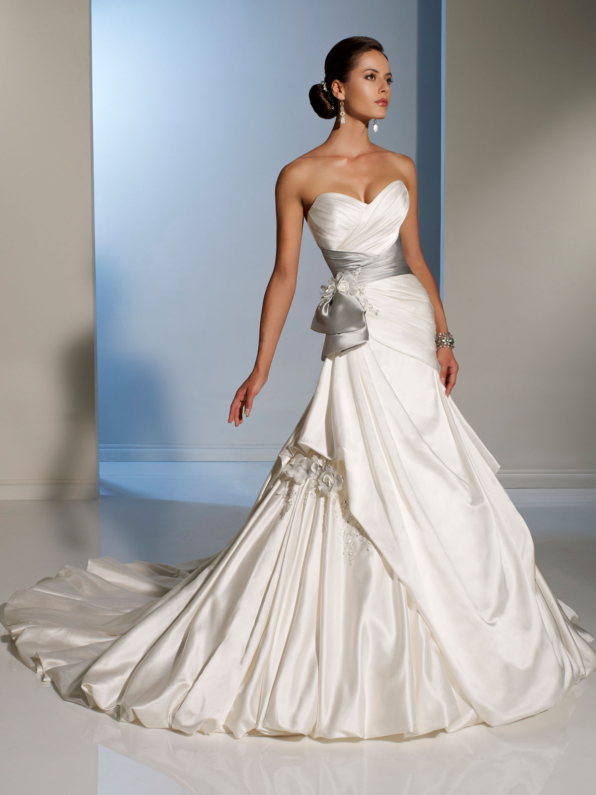 Bridal gowns with color silver wedding dresses Side Draped Wedding Dress with silver sash