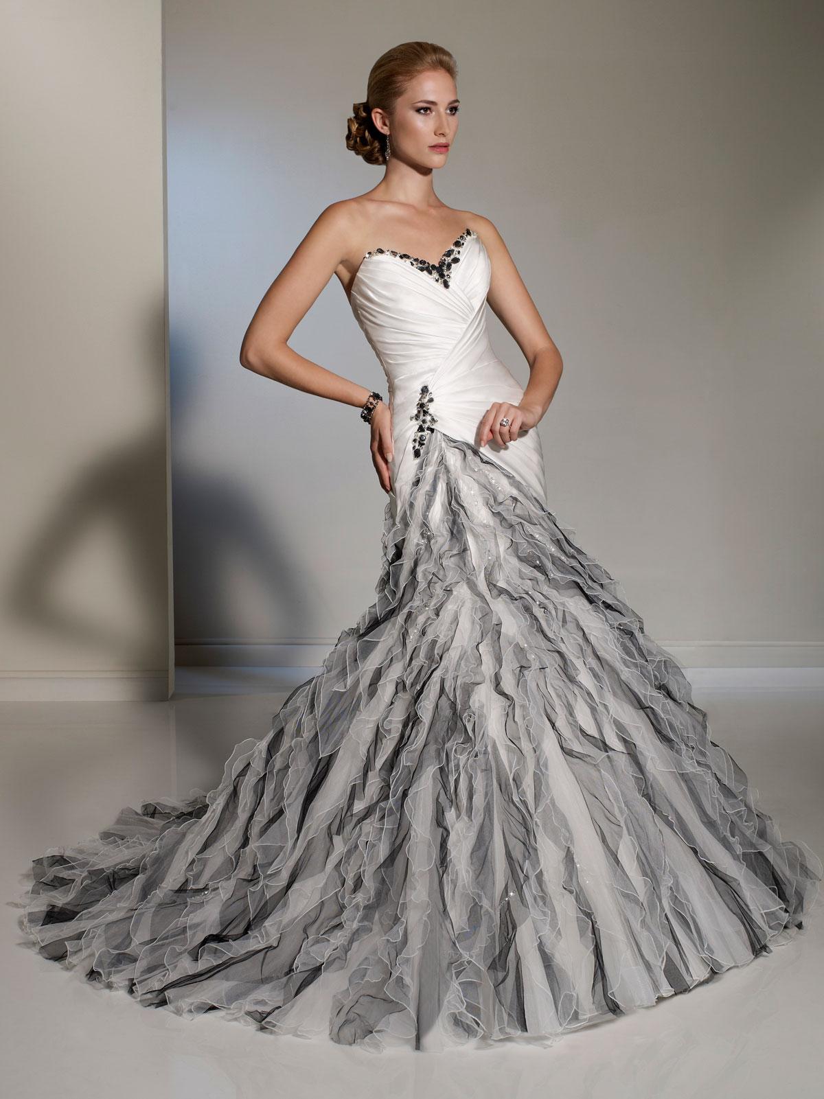 ruffled wedding dress gray dresses for wedding Grey and white wedding dresses