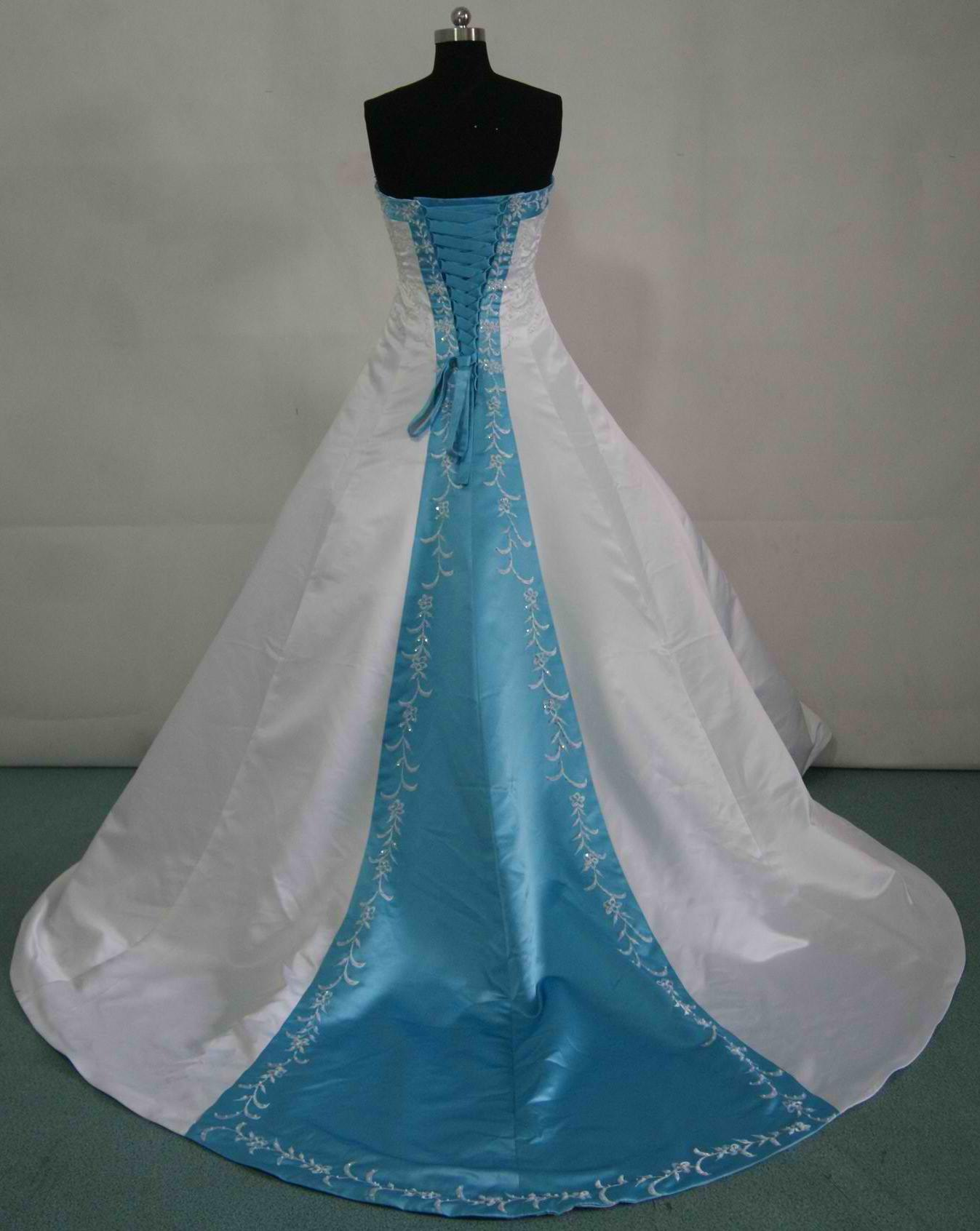 Bridal gowns with color wedding dresses with color white and pool blue wedding gown