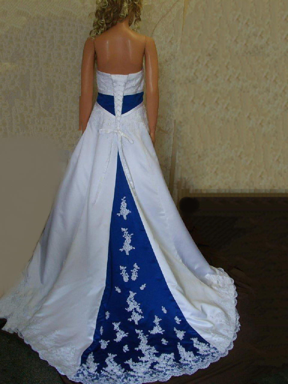 Bridal gowns with color wedding dress with color blue and white strapless wedding gown