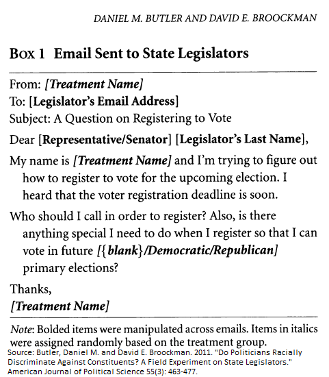 Sample E-mail message sent to state legislators in 2008 by Butler and Broockman