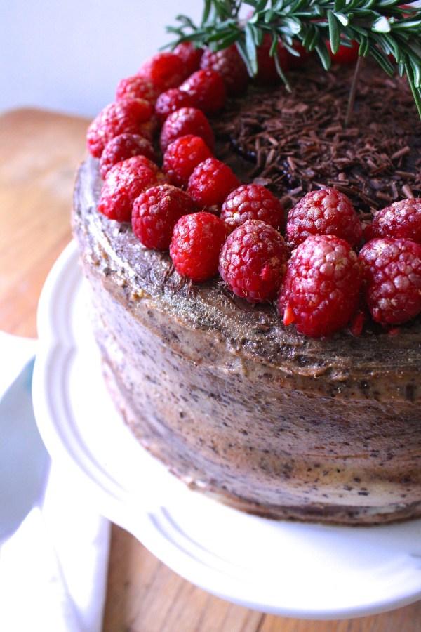 Gluten-Free Triple Layer Dark Chocolate Raspberry Cheesecake