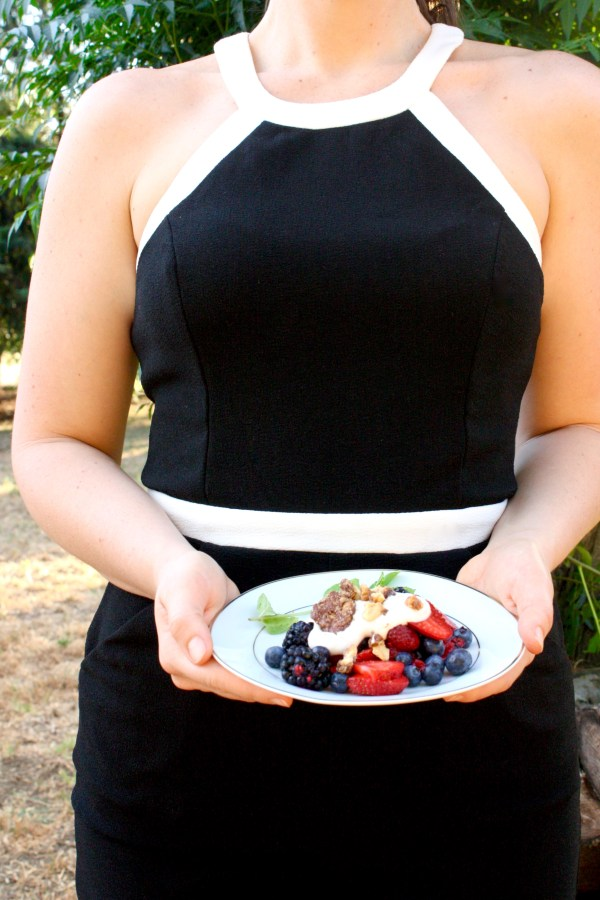 Summer berry recipe with caramelized walnuts