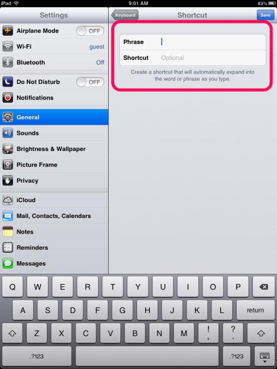 Add new shortcut