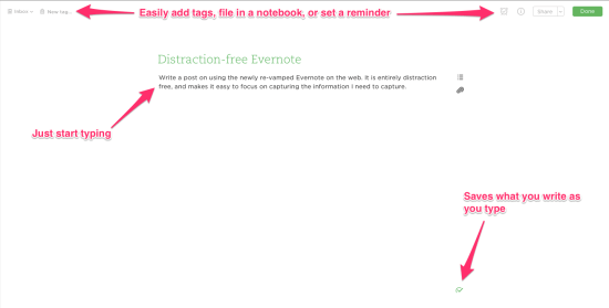 Evernote Web Features
