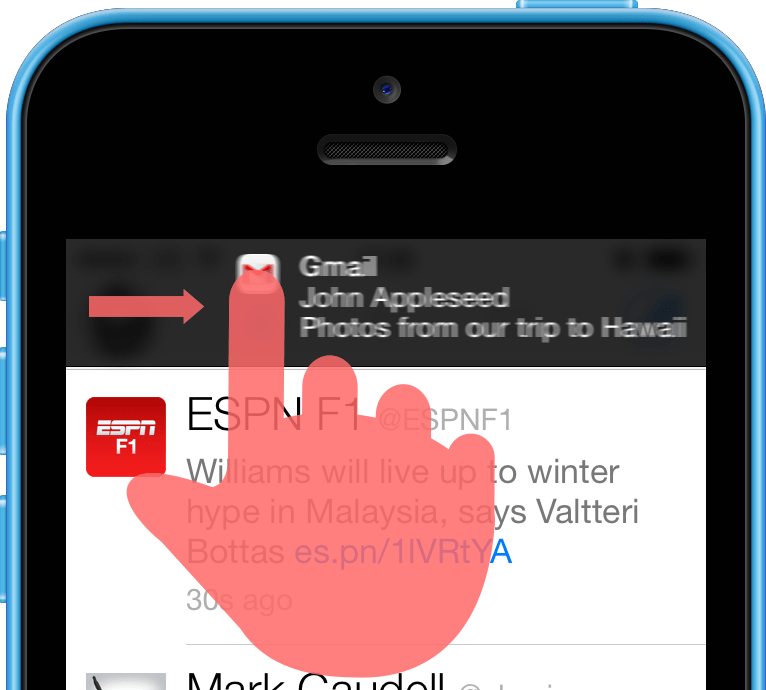 A mockup of an iOS banner notification being swiped to the right