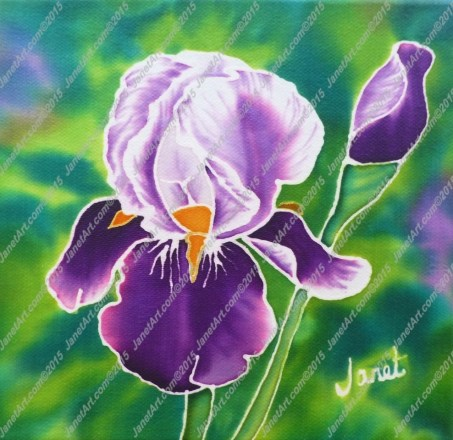 Purple Iris on Silk
