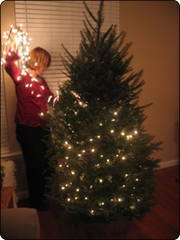 Elise decorating the tree 2005
