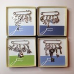 Janmary Designs vintage-style charm brooches delivered to Blue Beans gift shop in Castlewellan today