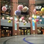 Loving the paper flower garlands in Victoria Square, Belfast