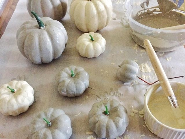 Pumpkin painting with chalk paint