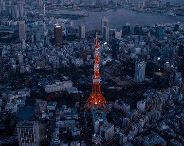 Tokyo Tower shot from a helicopter by Alfie Goodrich
