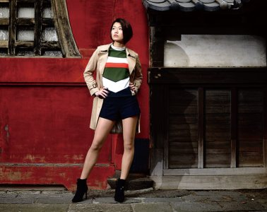 Tokyo model, Norie, poses outside Zojoji for the cover of the Housing Japan magazine
