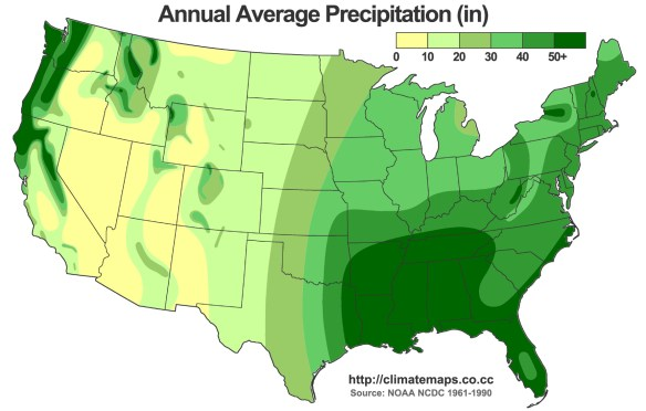 Rainfall in the US, in Inches