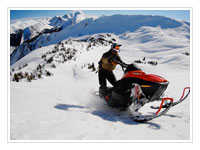 Snowmobiles are a great way to explore the Canadian Rockies in winter.