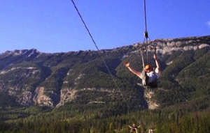 Zipline across the Kicking Horse River in the Canadian Rockies.