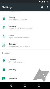 System Setting Android N dengan UI baru