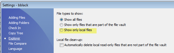 show only local files