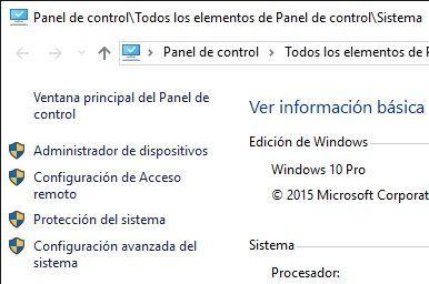 Escritorio Remoto Windows Propiedades del Sistema