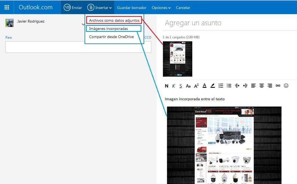 Imagen incorporada Outlook.com